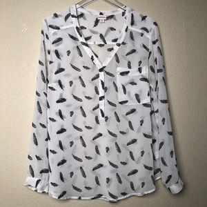 Merona | White Blouse with Black Feathers XL